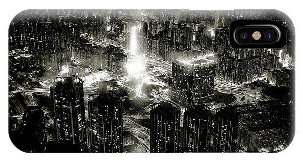 Rooftops iPhone Case - Hong Kong Night by Kenichiro Hagiwara