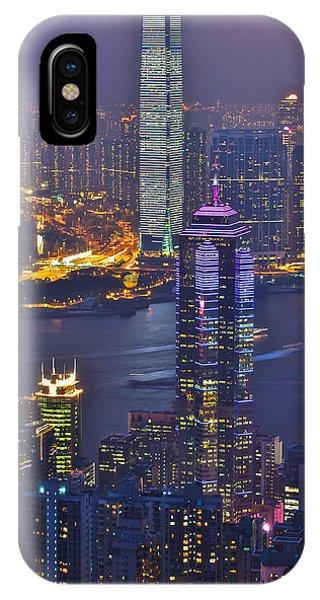Hong Kong Night View At Victoria Peak Phone Case by Hisao Mogi