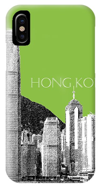 Hong Kong iPhone Case - Hong Kong Skyline 1 - Olive by DB Artist