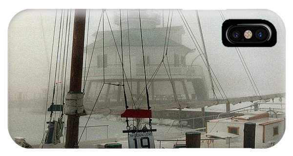 Skipjack iPhone Case - Hooper Straight Lighthouse by Skip Willits