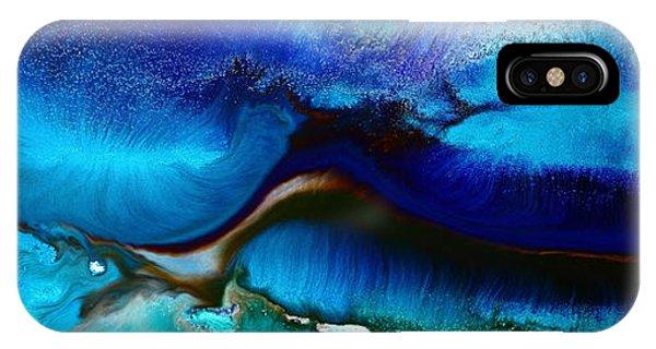 Horizontal Abstract Art Just Blue By Kredart IPhone Case