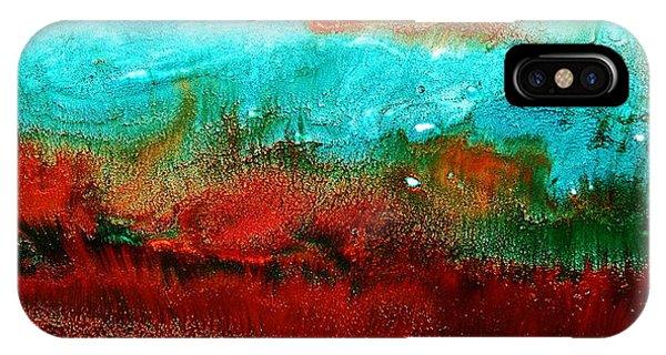 Horizontal Panoramic Abstract Art - Burning Meadows By Kredart IPhone Case