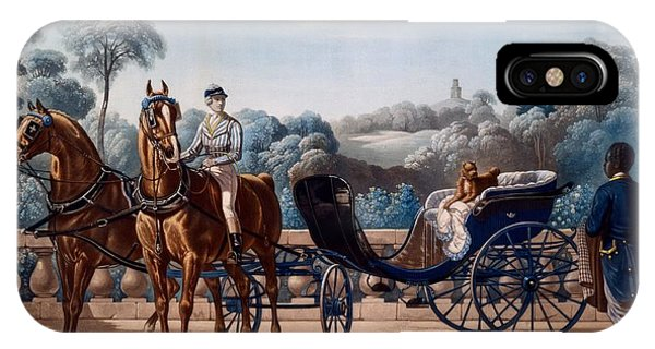 King Charles iPhone Case - Horse And Carriage, First Half C19th by Henri d'Ainecy, Comte de Montpezat