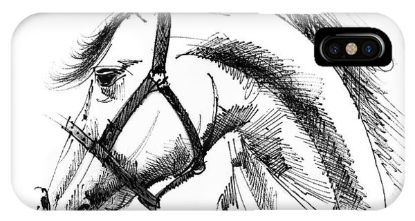Horse Face Ink Sketch Drawing IPhone Case