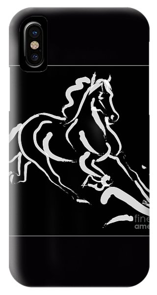 Horse - Fast Runner- Black And White IPhone Case
