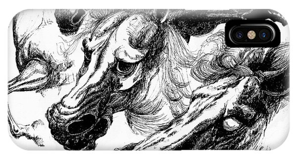 Horse Ink Drawing  IPhone Case