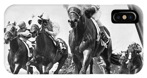 White Horse iPhone Case - Horse Racing At Belmont Park by Underwood Archives
