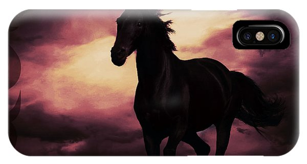 Horse With Tribal Tattoo Purple IPhone Case