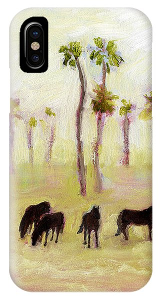 Horses And Palm Trees IPhone Case