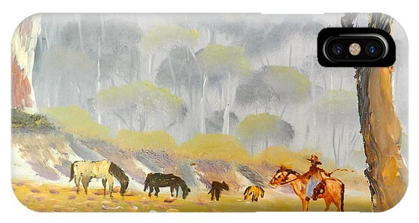 Horses Drinking In The Early Morning Mist IPhone Case
