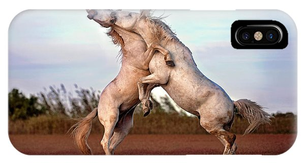 French iPhone Case - Horses Fighting by Xavier Ortega