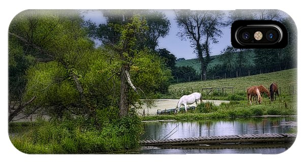 White Horse iPhone Case - Horses Grazing At Water's Edge by Tom Mc Nemar