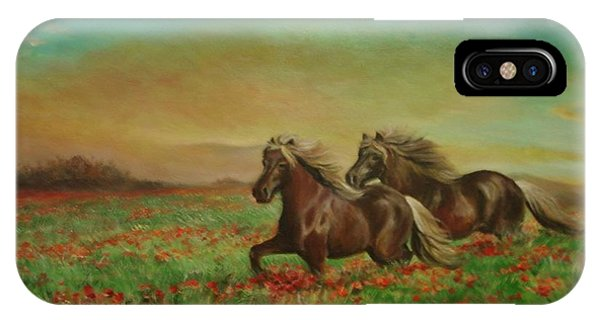 Horses In The Field With Poppies IPhone Case