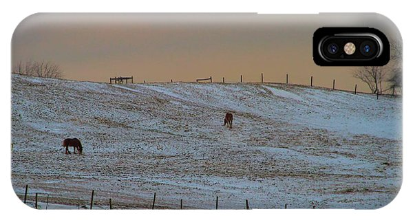 Amish Country iPhone Case - Horses On The Farm In Winter by Dan Sproul
