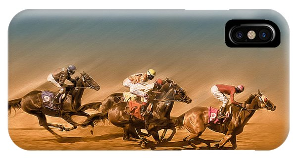 Horses Racing To The Finish Line IPhone Case