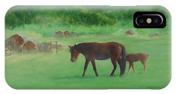 Horses Rural Pasture Western Landscape Original Oil Colorful Art Oregon Artist K. Joann Russell IPhone Case