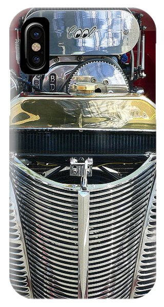 IPhone Case featuring the photograph Hot Rod Polished Steel Engine And Grill by Jeff Lowe
