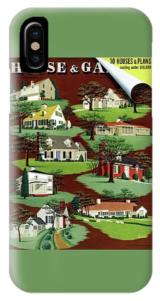 Magazine Cover iPhone Case - House & Garden Cover Illustration Of 9 Houses by Robert Harrer