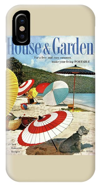 Magazine Cover iPhone Case - House And Garden Featuring Umbrellas On A Beach by Otto Maya & Jess Brown