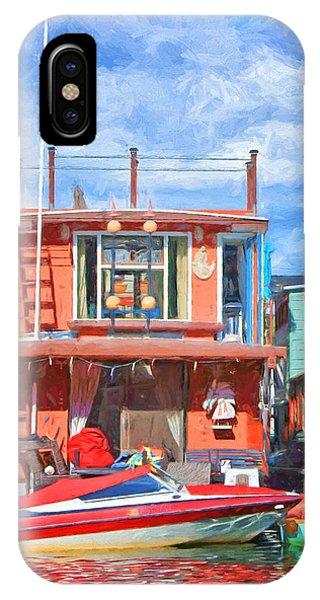 Powerboat iPhone Case - Houseboat #2 - Lake Union - Seattle by Nikolyn McDonald