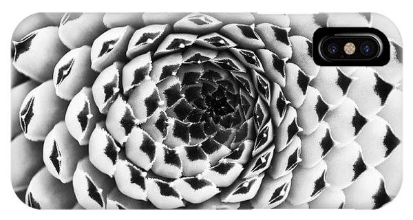 Succulent iPhone Case - Houseleek Pattern Monochrome by Tim Gainey