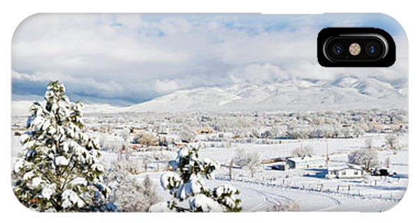 Sangre De Cristo iPhone Case - Houses And Trees Covered With Snow by Panoramic Images