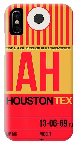 Travel iPhone Case - Houston Airport Poster 1 by Naxart Studio