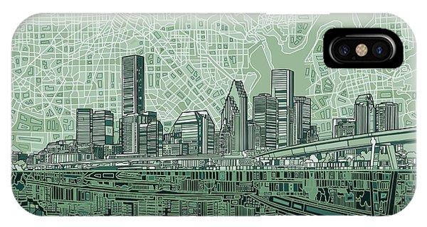 Houston Skyline Abstract 2 IPhone Case