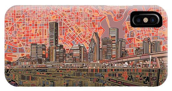 Houston Skyline Abstract 5 IPhone Case