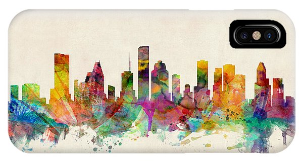 Skyline iPhone Case - Houston Texas Skyline by Michael Tompsett
