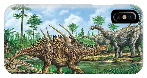 Huayangosaurus And Shunosaurus Phone Case by Phil Wilson