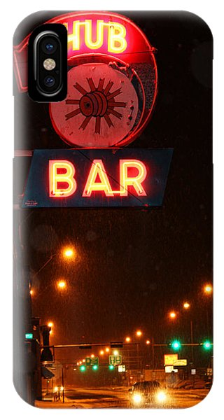 Hub Bar Snowy Night IPhone Case