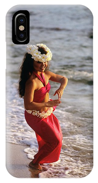 Hawaii iPhone Case - Hula Dancer Hawaii At Waters Edge Surf by Vintage Images