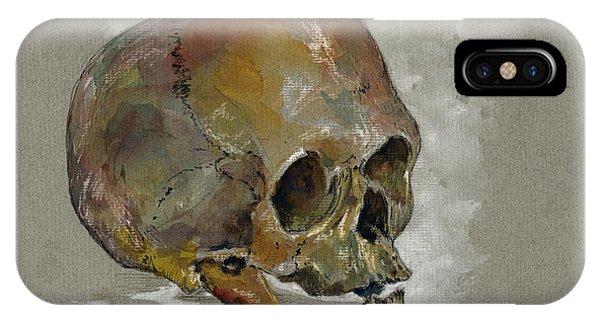 Skull iPhone Case - Human Skull Study by Juan  Bosco