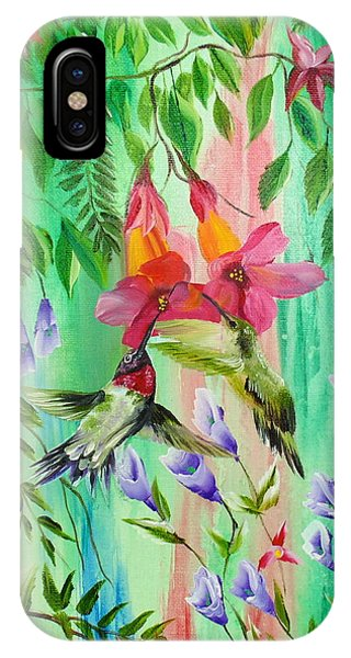 Humming Birds Feeding IPhone Case