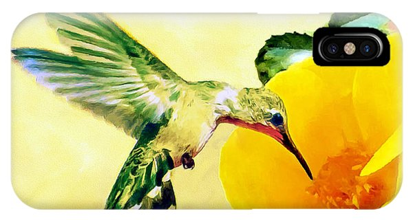Hummingbird And California Poppy IPhone Case