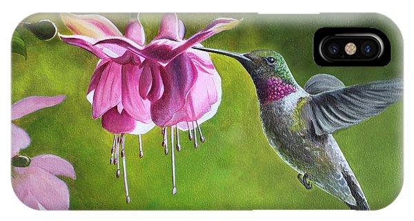 Hummingbird And Fuschia IPhone Case