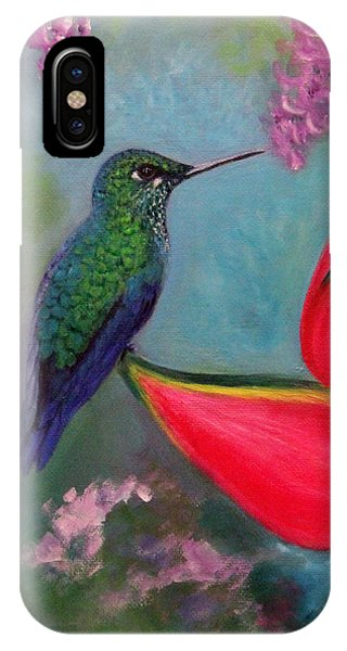 Hummingbird And Heliconia IPhone Case