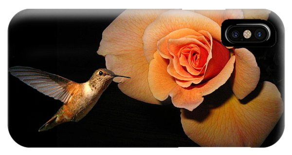 Humming Bird iPhone Case - Hummingbird And Orange Rose by Joyce Dickens