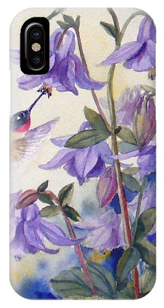 Hummingbird And Purple Columbine IPhone Case