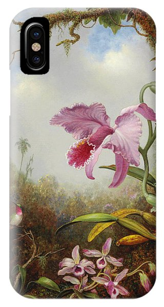 Humming Bird iPhone Case - Hummingbird And Two Types Of Orchids by Martin Johnson Heade