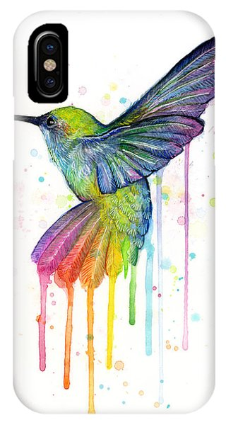 Bird Watercolor iPhone Case - Hummingbird Of Watercolor Rainbow by Olga Shvartsur