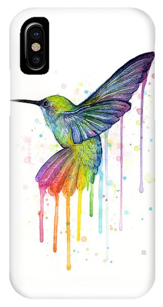 iPhone X Case - Hummingbird Of Watercolor Rainbow by Olga Shvartsur