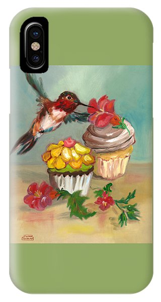 hummingbird with 2 Cupcakes IPhone Case