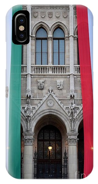 Hungary Flag Hanging At Parliament Budapest IPhone Case