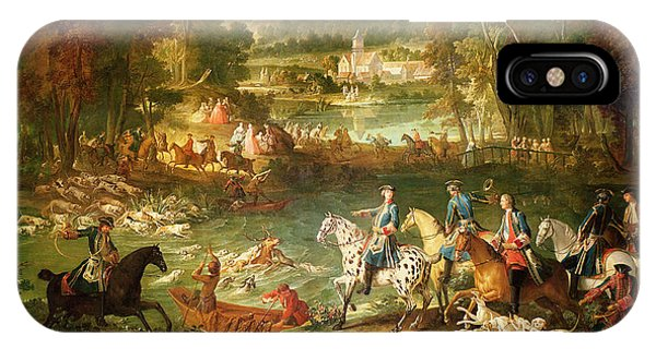 Hunting At The Saint-jean Pond In The Forest Of Compiegne, Before 1734 Oil On Canvas IPhone Case