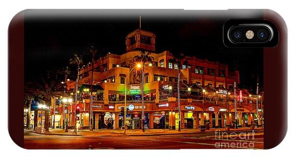 Huntington Beach Downtown Nightside 1 IPhone Case