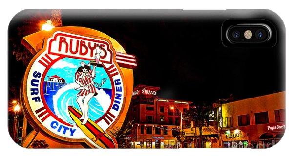 Huntington Beach Downtown Nightside 2 IPhone Case