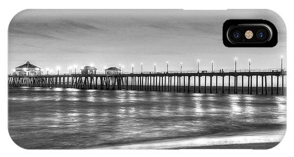 Huntington Beach Pier Twilight - Black And White IPhone Case