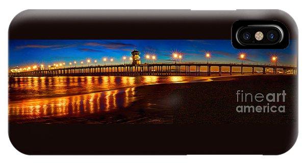Huntington Beach Pier Twilight Panoramic IPhone Case